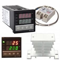Digitální termostat REX-C100, K senzor 0~400°C, SSR Relé 40A, chladič AL, 230V AC, model: REX-C100FK02-V*AN DN