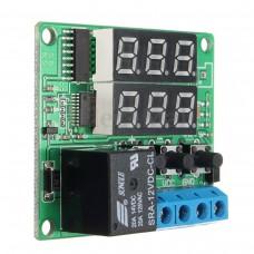 Multifunkční časové relé, 0 ~ 999h, 2 x LED zobrazovač, 12V