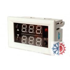 Panelový termostat -20°C ~ +100°C, opožděný start, doba provozu, duální LED, NTC senzor, 12V