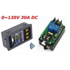 Bezdrátový stejnosměrný wattmetr - V, A, W, Ah, 0~120V, 0~30A, VAC1030A