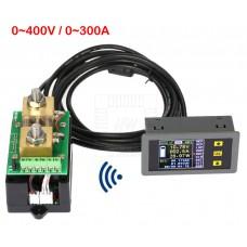 Bezdrátový stejnosměrný wattmetr - V, A, W, Ah, 0~400V, 0~300A, VAC-4300A
