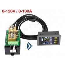 Bezdrátový stejnosměrný wattmetr - V, A, W, Ah, 0~120V, 0~100A, VAC-1100A