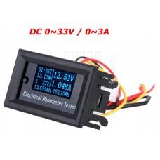 Panelové měřidlo - 7 in 1, DC V, A, W, Wh, Ah, t, 0~33V, 0~3A, OLED