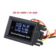 Panelové měřidlo - 7 in 1, DC V, A, W, Wh, Ah, t, 0~100V, 0~10A, OLED