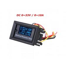 Panelové měřidlo - 7 in 1, DC V, A, W, Wh, Ah, t, 0~33V, 0~10A, OLED
