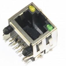 Konektor RJ45 do DPS s LED, 8P8C