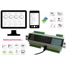 TTHERM-2, čtyřnásobný webový termostat s časovým spínačem, 8xOUT, 8xIN, DIN, 12V