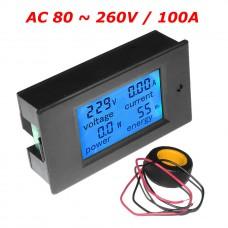 Panelové měřidlo - AC V, A, W, Wh, 0~100A, PZEM-061
