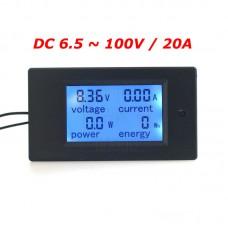 Panelové měřidlo - DC  V, A, W, Wh, 0~20A, PZEM-031
