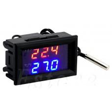 Inteligentní panelový termostat -50°C ~ +110°C, duální LED, NTC senzor, 12V, W1209WK, (W2809)