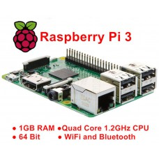 Raspberry Pi 3 model B, Quad Core, 1.2GHz, 64bit, 1G RAM, Wifi, Bluetooth 4.1