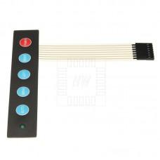 Samolepící membránová klávesnice 1 x 5 s LED