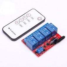 Bezdrátové RF relé, 4 kanál, ovladač ON/OFF, 12V DC