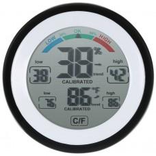 Digitální vlhkoměr s teploměrem, kulatý, dotykový, 0°~50°C, 20~95% RH