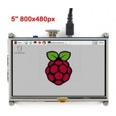 """5"""" dotykový barevný displej, 800 x 480px pro Raspberry, HDMI TFT"""