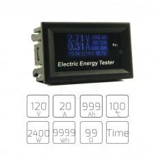 Panelový stejnosměrný wattmetr - V, A, W, Ah, t, 0~120V, 0~20A
