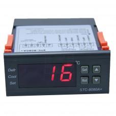 Chladící termostat STC-8080A+,  -40°C ~ +50°C, LED, 2 výstupy přepínací kontakt, senzor 2m, 230V AC