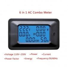 Panelové měřidlo - wattmetr, AC V, A, W, Wh, f, účiník, 0~20A, P06S-20