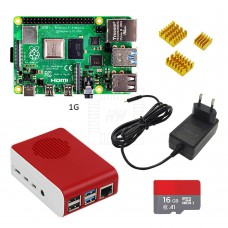 Raspberry Pi 4 model B, Quad Core, 1.5GHz, 64bit, 1G RAM, 2xUSB 3.0, 2x USB 2.0, Wifi, Ethernet, Bluetooth 5.0, 16GB micro SD + zdroj 3A