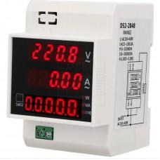 Multifunkční AC voltmetr, ampérmetr, účiník, 80~300V, 0~100A, 0-1φ, 30kW, D52-2048, DIN
