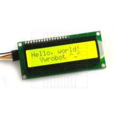 LCD  podsvětlený 2x16 znaků (žlutá), I2C modul, 1602A