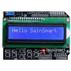 LCD 2x16 znaků, 5 tlačítek+RESET, modrá
