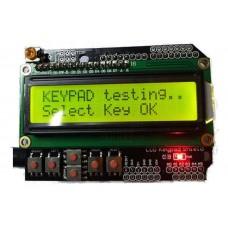 LCD 2x16 znaků, 5 tlačítek, žlutá