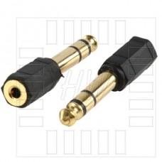 Redukce JACK 3.5mm (F) / JACK 6.3mm (M), stereo, pozlacené