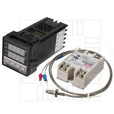 Digitální termostat REX-C100, K senzor 0~400°C, SSR Relé 40A, 230V AC, model: REX-C100FK02-V*AN DA, BERME