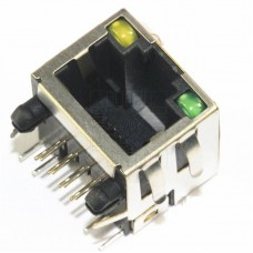 Konektor RJ45 do DPS s LED, 8P8C