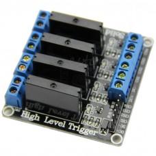Elektronické SSR relé 4x, modul, 5V, zátěž 2A/240VAC