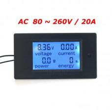 Panelové měřidlo - AC V, A, W, Wh, 0~20A, PZEM-021