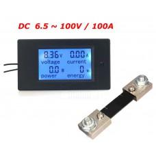 Panelové měřidlo - DC V, A, W, Wh, 0~100A, PZEM-051 + 100A bočník